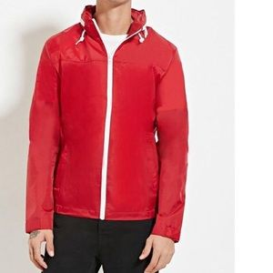 Forever 21 -Red Zip Up Hooded Windbreaker for Men
